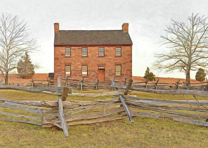Stone House Greeting Card featuring the digital art Stone House / Manassas National Battlefield / Winter Morning by Digital Photographic Arts
