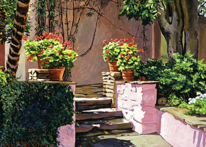 Gardens Greeting Card featuring the painting Stone Patio California by David Lloyd Glover