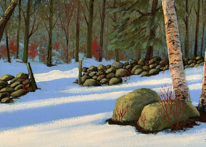 Landscape Greeting Card featuring the painting Stone Wall Gateway by Frank Wilson