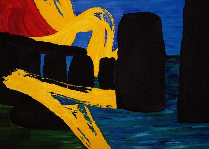 Stonehenge Greeting Card featuring the painting Stonehenge Abstract Evolution1 by Gregory Allen Page