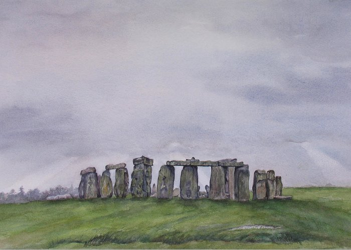 Stonehenge Greeting Card featuring the painting Stonehenge by Debbie Homewood