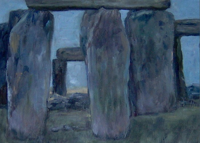 Historical Greeting Card featuring the painting Stonehenge by Lorna Skeie