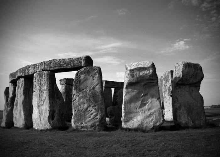 Stonehenge No 1 Bw Greeting Card featuring the photograph Stonehenge No 1 Bw by Kamil Swiatek
