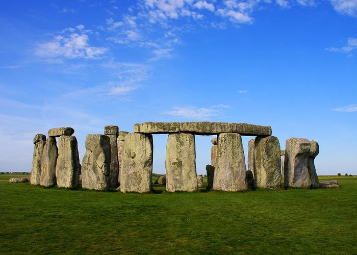 Stonehenge On A Clear Blue Day Greeting Card featuring the photograph Stonehenge On A Clear Blue Day by Kamil Swiatek
