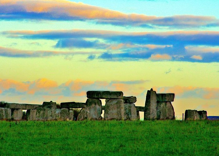 England Greeting Card featuring the photograph Stonehenge Sunset In Spring by Leanne Westby