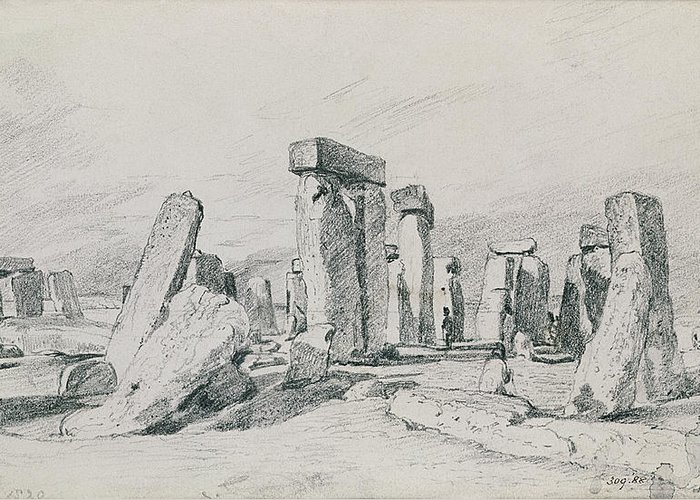 Salisbury Plain; Monument; Tourism; Druid; Summer Solstice Greeting Card featuring the drawing Stonehenge Wiltshire by John Constable