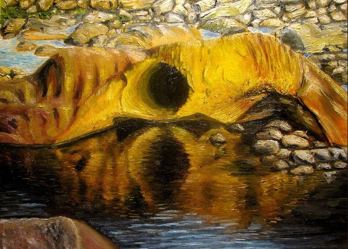 Landscape Greeting Card featuring the painting Stones Ocoee River In Tennessee Landscape Original Oil Paintings by Natalja Picugina