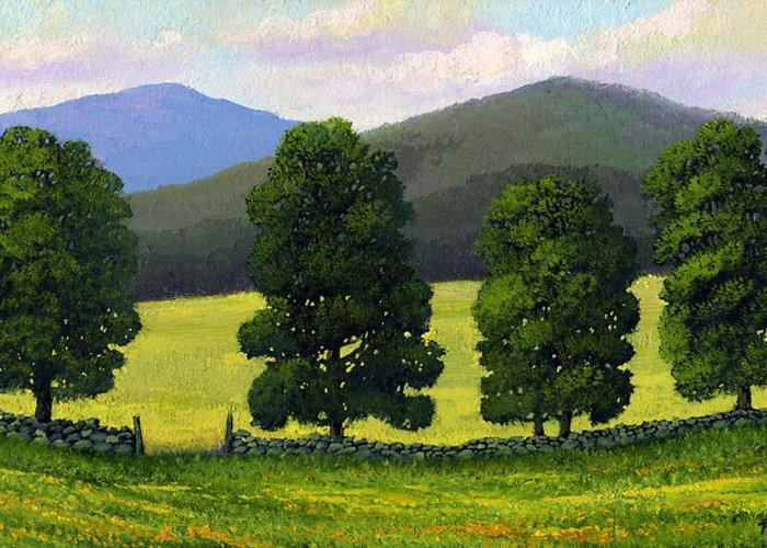 Landscape Greeting Card featuring the painting Stonewall Field by Frank Wilson