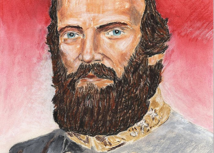 Military Greeting Card featuring the pastel Stonewall Jackson by Dennis Larson