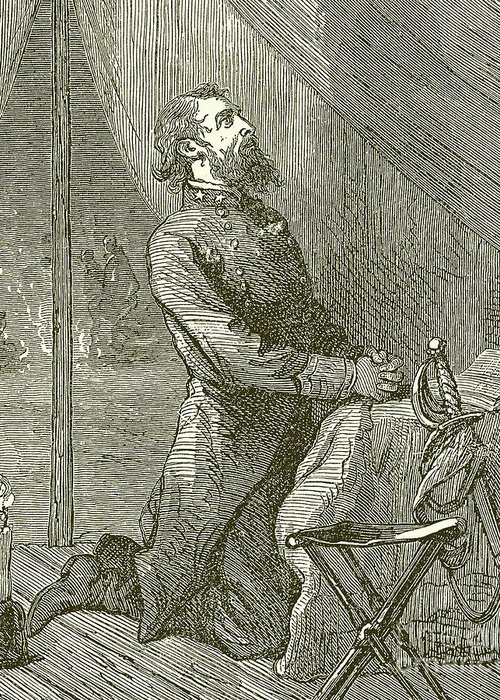 Stonewall Jackson Greeting Card featuring the drawing Stonewall Jackson Praying Before The Battle by English School