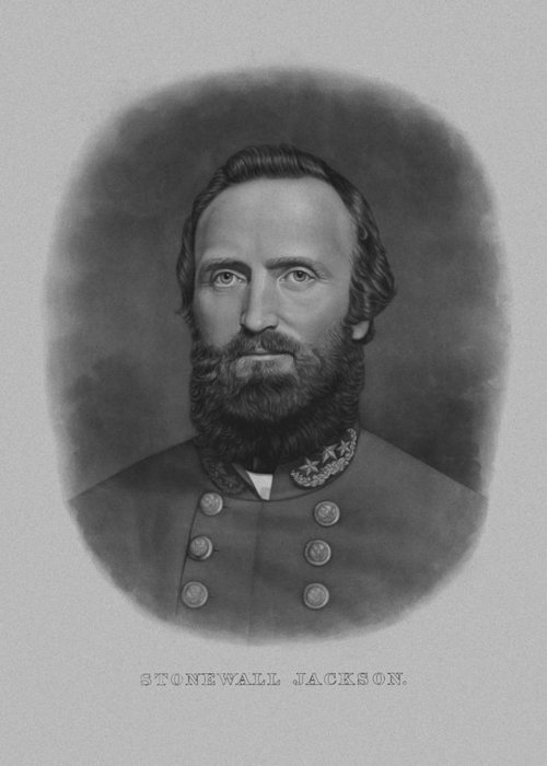 Stonewall Jackson Greeting Card featuring the drawing Stonewall Jackson by War Is Hell Store