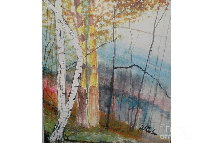 Birch Trees Greeting Card featuring the painting Stoney Brooke Park by Hal Newhouser