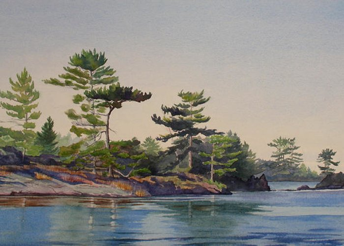 Rocks Greeting Card featuring the painting Stoney Lake Morning by Debbie Homewood