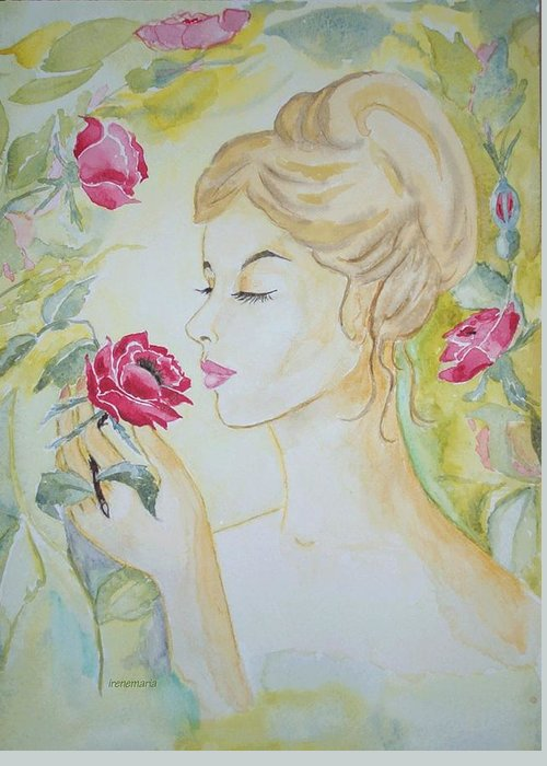 Roses Flowers Greeting Card featuring the painting Stop And Smell The Roses by Irenemaria