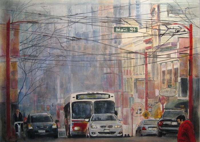 Bus Greeting Card featuring the painting Stop Light by Victoria Heryet