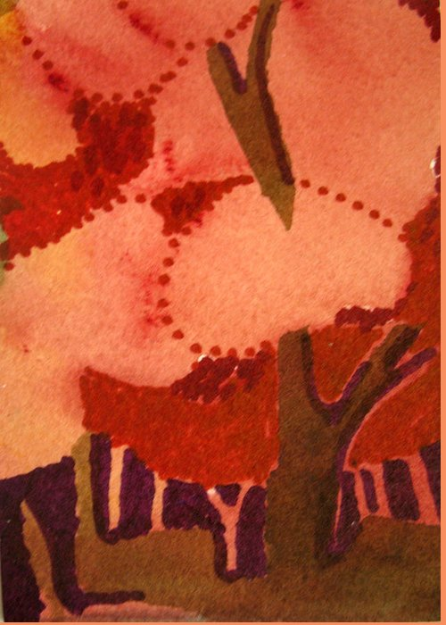 Aceo. Semi-abstract Greeting Card featuring the painting Stopping In The Woods by Bill Meeker