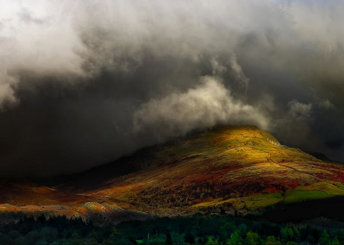 Cumbria Greeting Card featuring the photograph Storm Brewing Over Hawkshead by Meirion Matthias