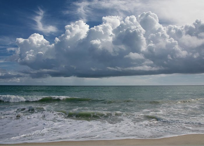 Storm Greeting Card featuring the photograph Storm Clouds Above The Atlantic Ocean by Zina Stromberg