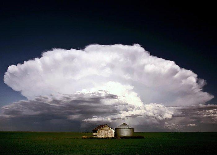 Cumulonimbus Greeting Card featuring the digital art Storm Clouds Over Saskatchewan Granaries by Mark Duffy