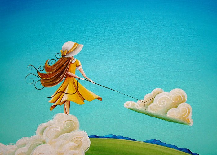 Girl Greeting Card featuring the painting Storm Development by Cindy Thornton