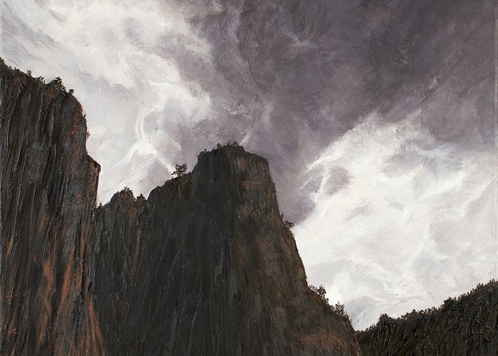 Grand Canyon Greeting Card featuring the painting Storm In The Canyon by Sean Koziel