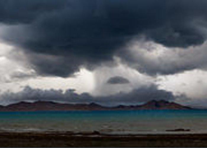 Beautiful Greeting Card featuring the photograph Storm On Karakul Lake. Panorama by Konstantin Dikovsky