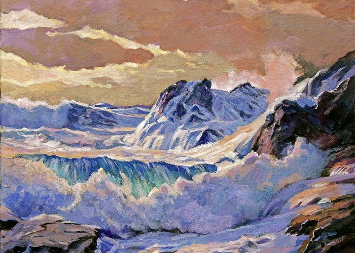 Seascapes Greeting Card featuring the painting Storm On Pacific Coast by David Lloyd Glover