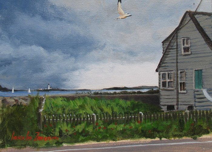 Seascape Greeting Card featuring the painting Storm Over Hull by Laura Lee Zanghetti