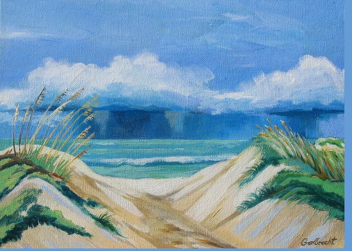 Beach Greeting Card featuring the painting Storm Over Ocean by Shirley Galbrecht
