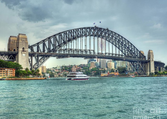 Sydney Harbour Bridge Greeting Card featuring the photograph Storm Over Sydney Harbour Bridge by Chris Smith