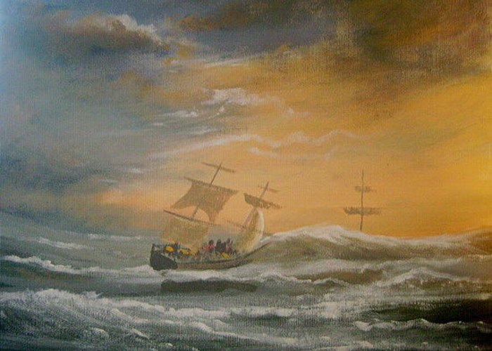 Sea Ships Storm Waves Greeting Card featuring the painting Storm Ships by Cathal O malley