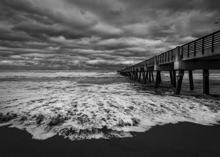 Storm Clouds Greeting Card featuring the photograph Storm Waves Breaking On The Shore by Rick Strobaugh