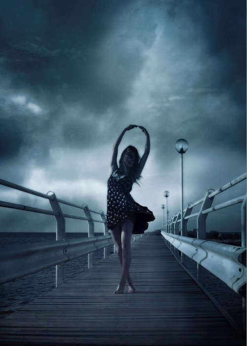 Girl Greeting Card featuring the photograph Stormdance by Cambion Art