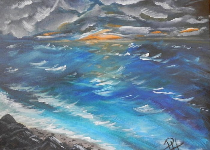 Sea Greeting Card featuring the painting Storm's Coming by Patti Spires Hamilton