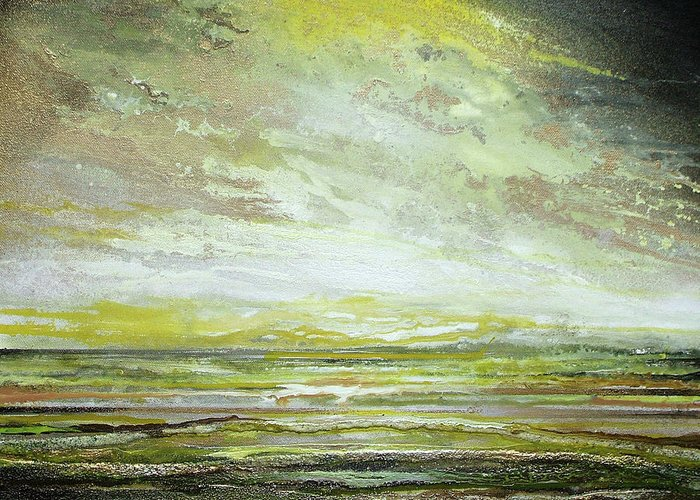 Yellows Greeting Card featuring the mixed media Stormsand Beach Textures No2yellow by Mike  Bell