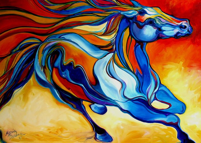 Horse Greeting Card featuring the painting Stormy An Equine Abstract Southwest by Marcia Baldwin