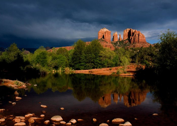 Cathedral Rock Greeting Card featuring the photograph Stormy Day At Cathedral Rock by David Sunfellow