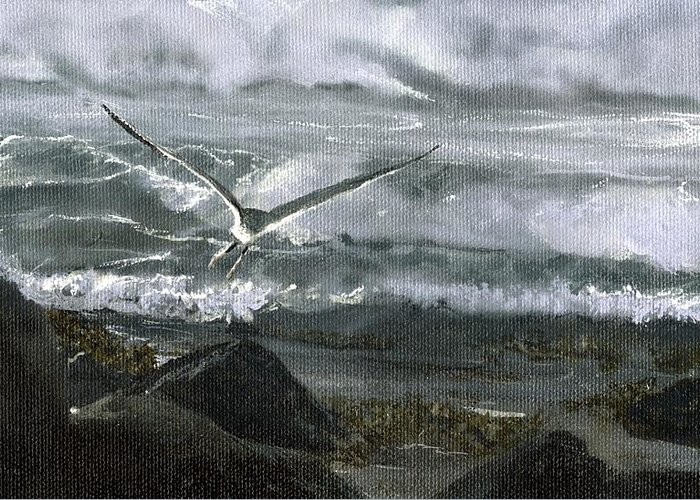 Greeting Card featuring the painting Stormy Flight 2 by Charles Parks