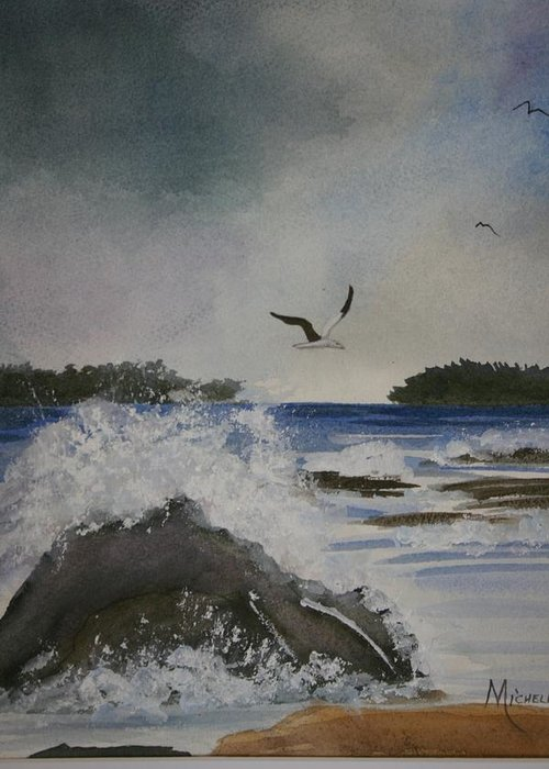 Ocean Greeting Card featuring the painting Stormy Inlet by Michele Turney