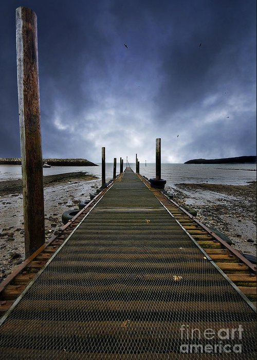 Angling Greeting Card featuring the photograph Stormy Jetty by Meirion Matthias