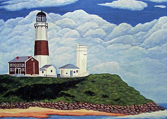 Lighthouses Greeting Card featuring the painting Stormy Montauk Point Lighthouse by Frederic Kohli