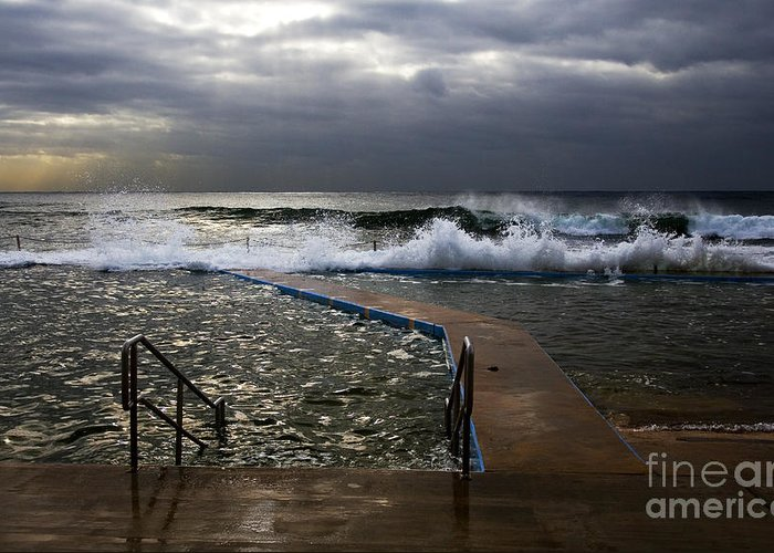 Storm Clouds Collaroy Beach Australia Greeting Card featuring the photograph Stormy Morning At Collaroy by Avalon Fine Art Photography