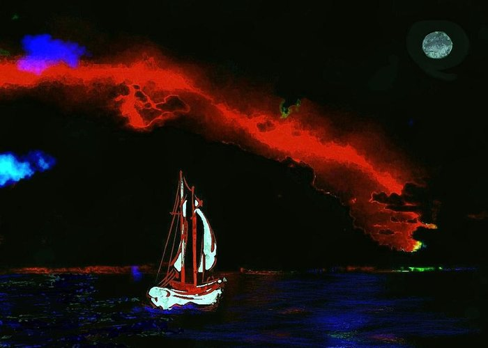 Greeting Card featuring the painting Stormy Night by Mimo Krouzian