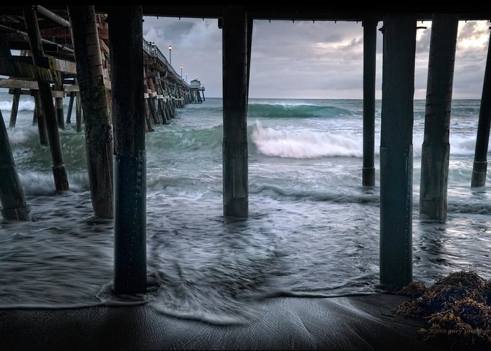 San Clemente Greeting Card featuring the photograph Stormy Pier by Gary Zuercher