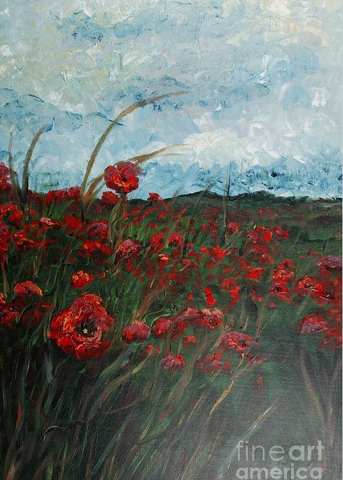 Poppies Greeting Card featuring the painting Stormy Poppies by Nadine Rippelmeyer