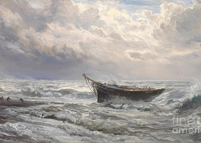 Boat Greeting Card featuring the painting Stormy Seas by Henry Moore