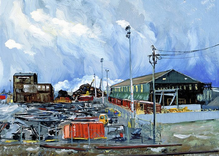 Urban Industrial Landscape Painting Greeting Card featuring the painting Stormy Sky Over Shipyard And Steel Mill by Asha Carolyn Young