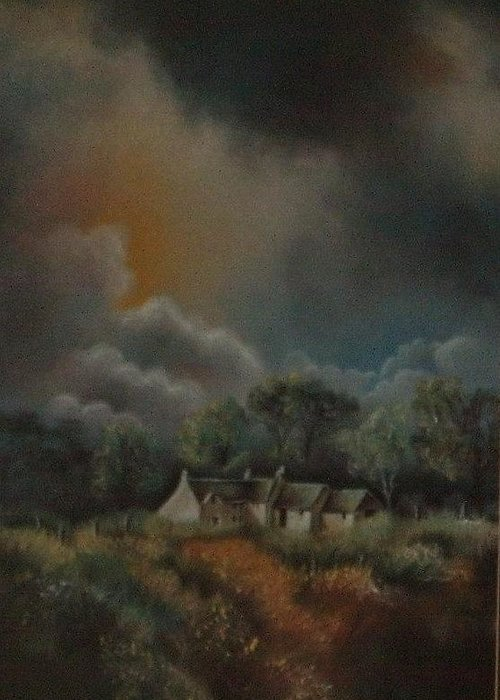 Landscape Greeting Card featuring the painting Stormy Weather by Nellie Visser