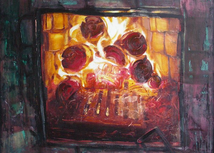 Oil Greeting Card featuring the painting Stove by Sergey Ignatenko