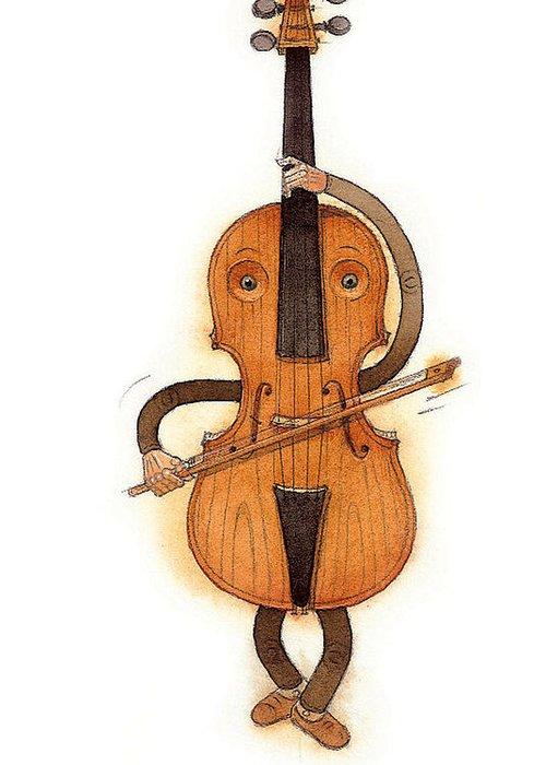 Violin Music Baroque Classical Greeting Card featuring the painting Stradivarius Violin by Kestutis Kasparavicius